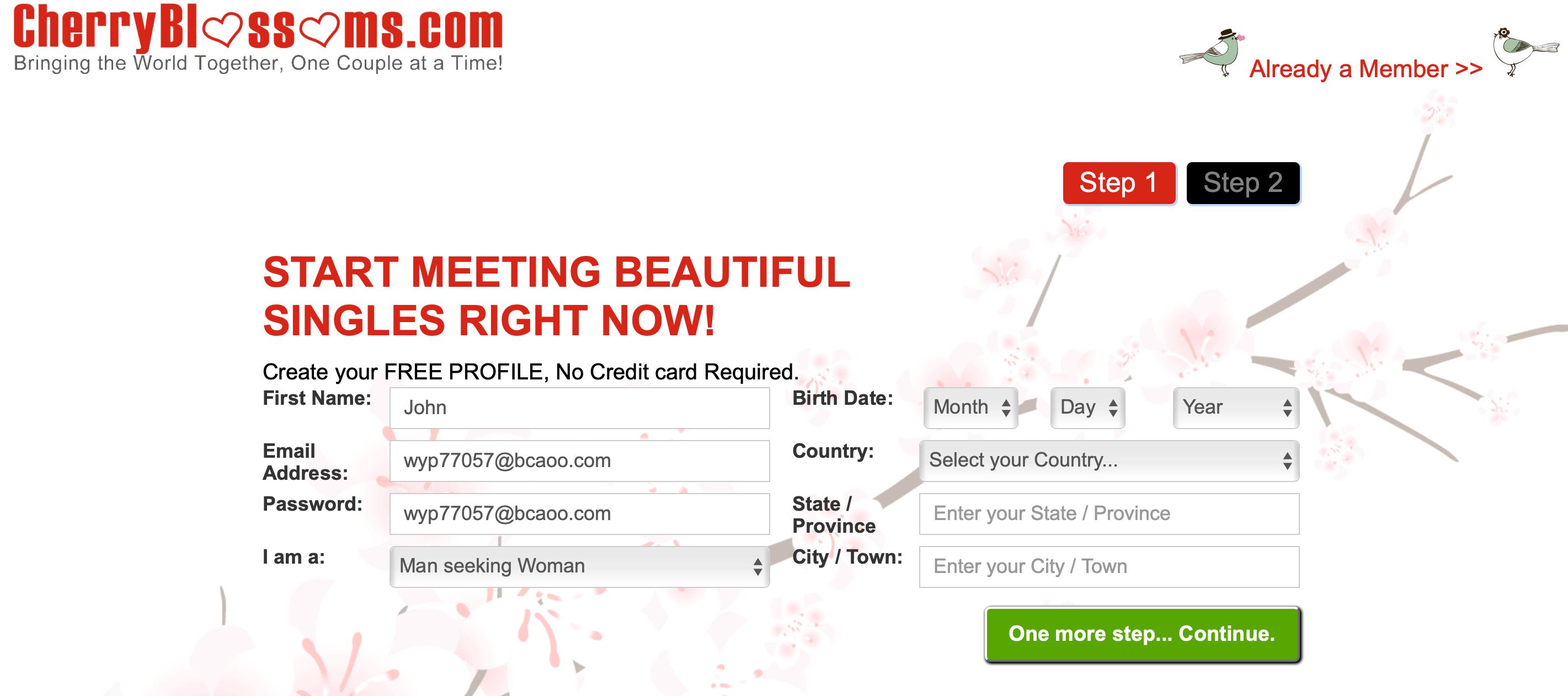 Cherry Blossoms registration
